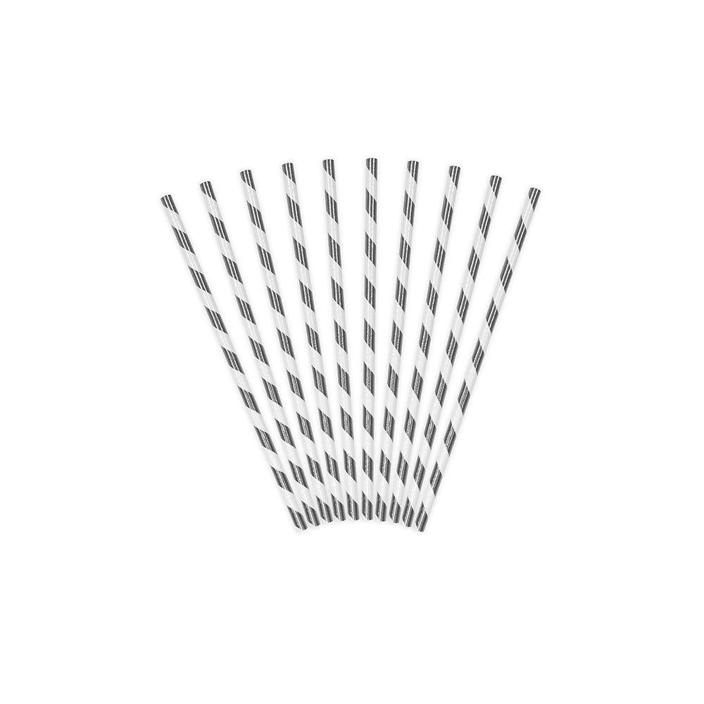 10 pailles rayures argentées