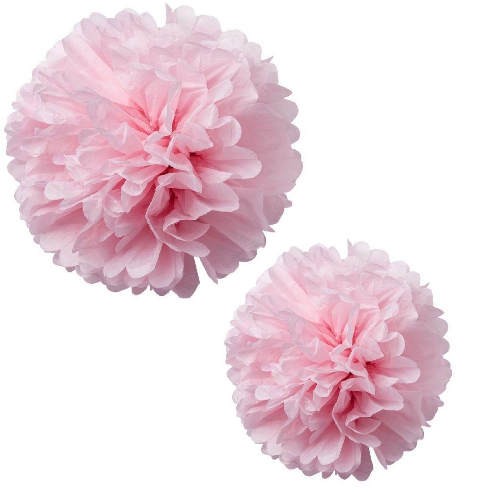 2 grands pompons roses - 40 & 50 cm