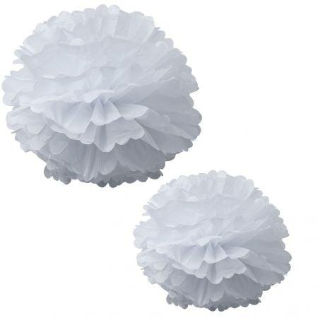 2 grands pompons blancs - 40 & 50 cm