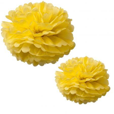 2 grands pompons jaunes - 40 & 50 cm