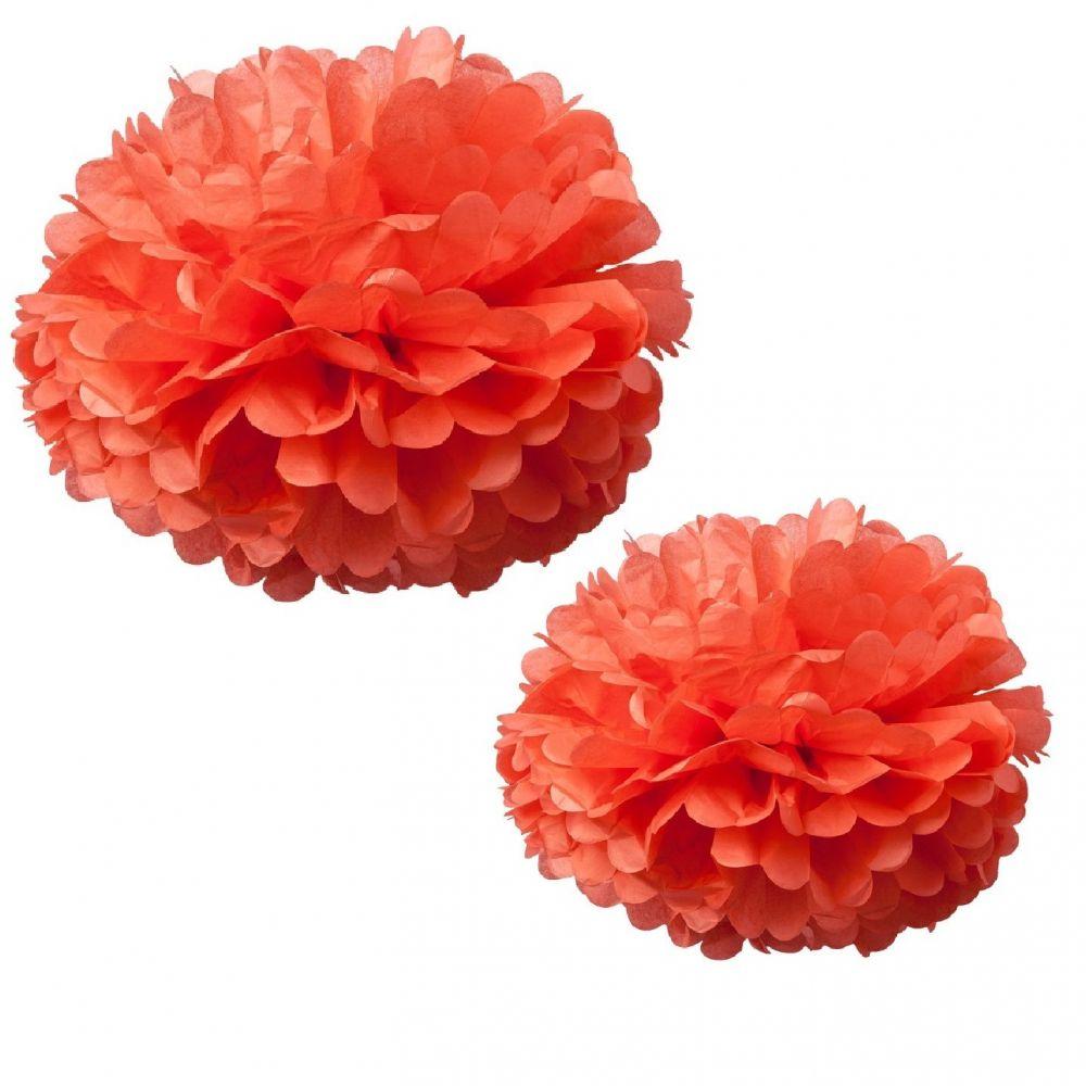 2 grands pompons corail - 40 & 50 cm