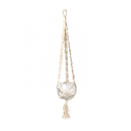 Suspension macramé et bocal en verre - 55 cm