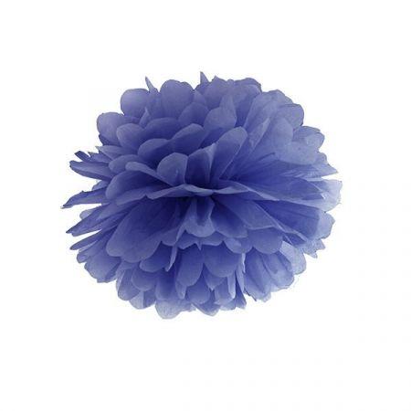 Pompon bleu foncé - 25 cm