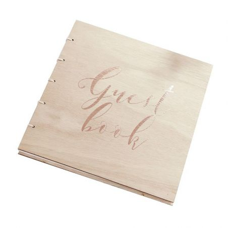 """Livre d'or en bois et cuivré """"Guest book"""""""