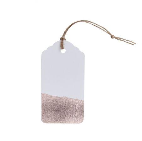 10 étiquettes métallisées or rose