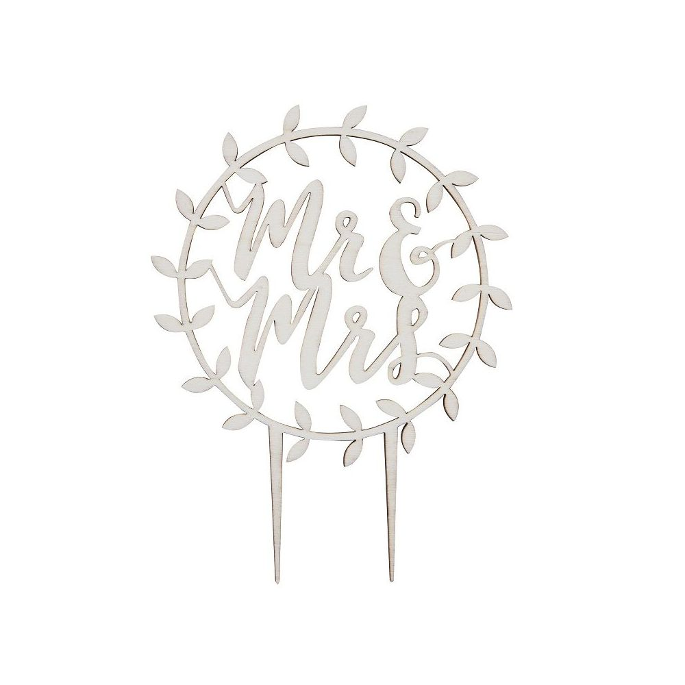 Cake topper en bois MR& MRS