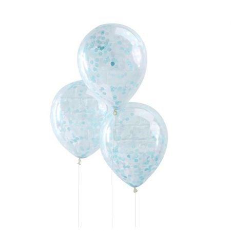 5 ballons confettis bleus