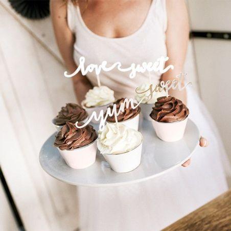 6 pics messages dorés pour cupcake et gâteaux