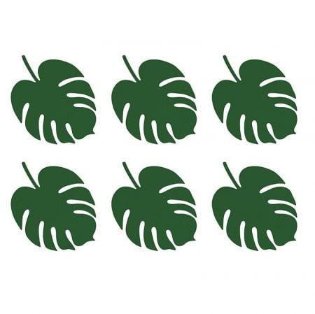 6 marque-places feuilles tropicales