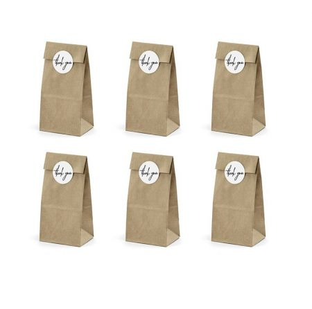 "6 sachets kraft ""thank you"""