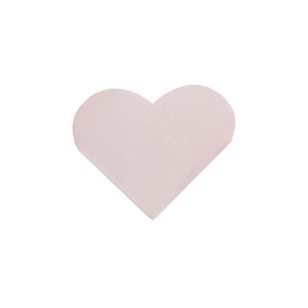 16 serviettes coeur rose pastel