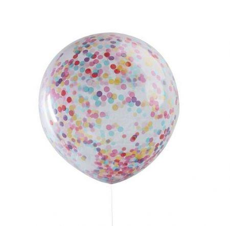 3 ballons géants confettis multicolores