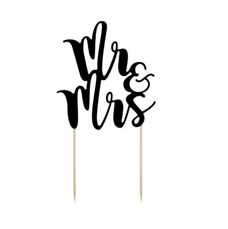 "Cake topper papier noir ""Mr & Mrs"""