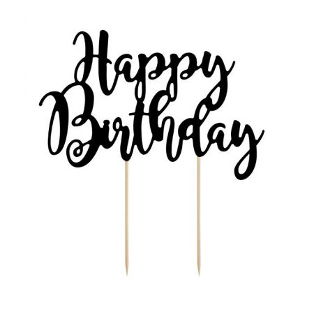 Cake topper HAPPY BIRTHDAY papier noir