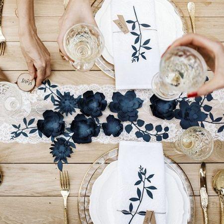 6 marque-places fleurs bleues