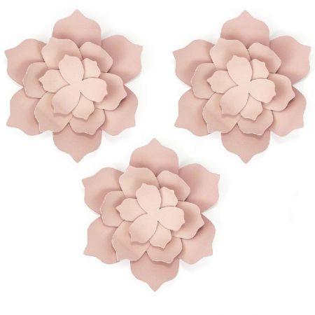 3 fleurs roses en papier
