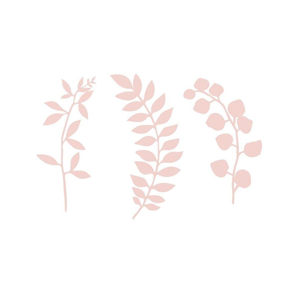 9 branches roses en papier