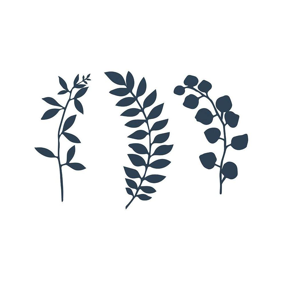 9 feuilles bleues en papier