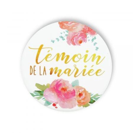 """Badge fleurs """"Témoin de la mariée"""""""
