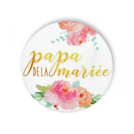 """Badge fleurs """"papa de la mariée"""""""