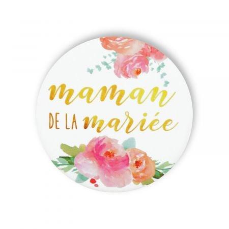 """Badge fleurs """"Maman de la mariée"""""""