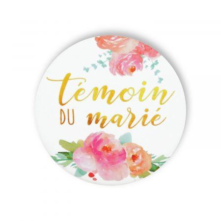 """Badge fleurs """"Témoin du marié"""""""