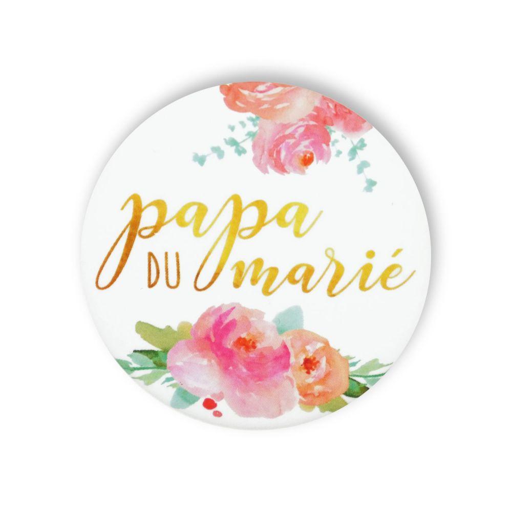 """Badge fleurs """"Papa du marié"""""""