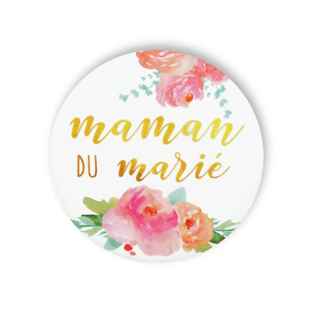 """Badge fleurs """"Maman du marié"""""""