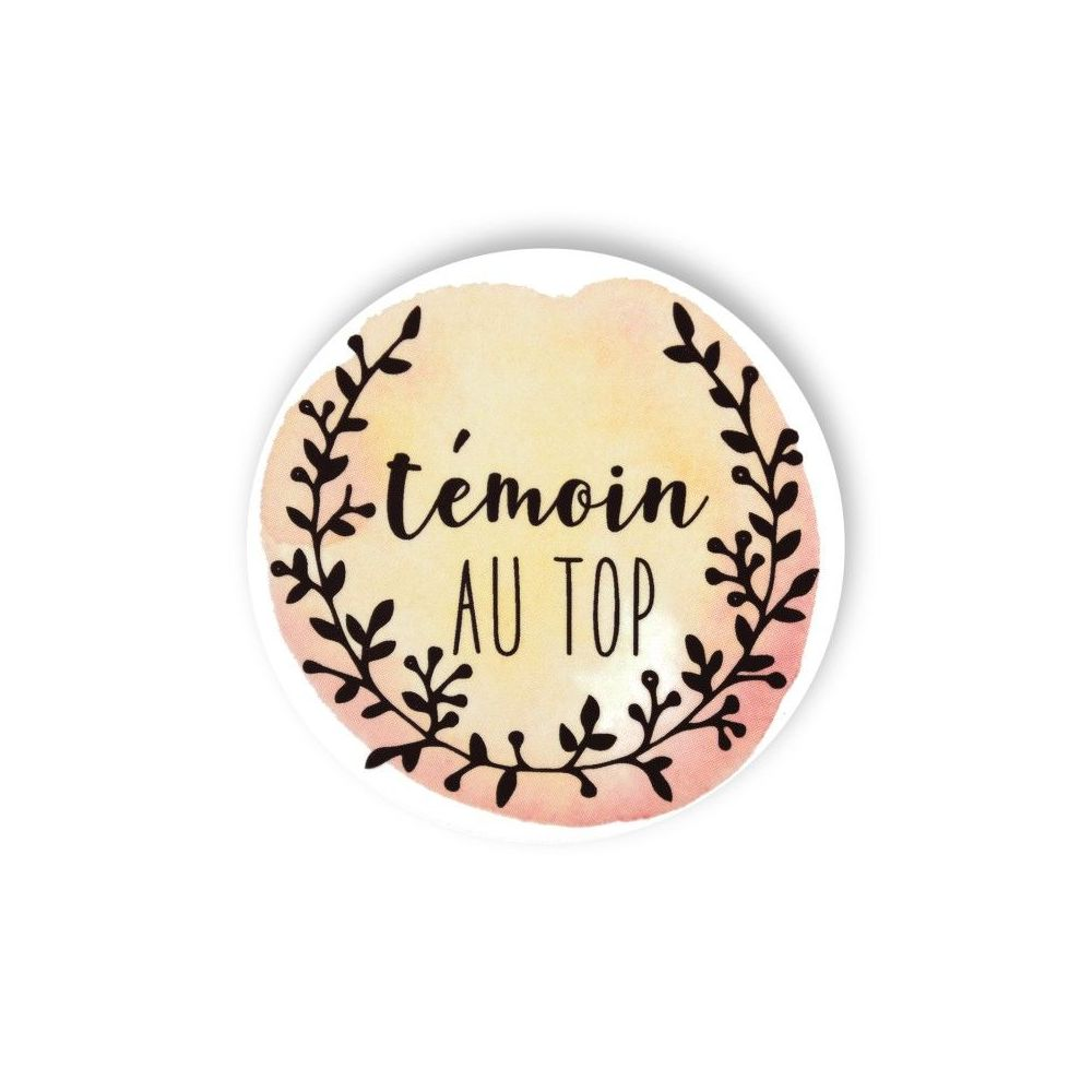 "Badge aquarelle pêche ""Témoin au top"""