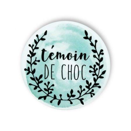 """Badge aquarelle menthe """"Témoin de choc"""""""