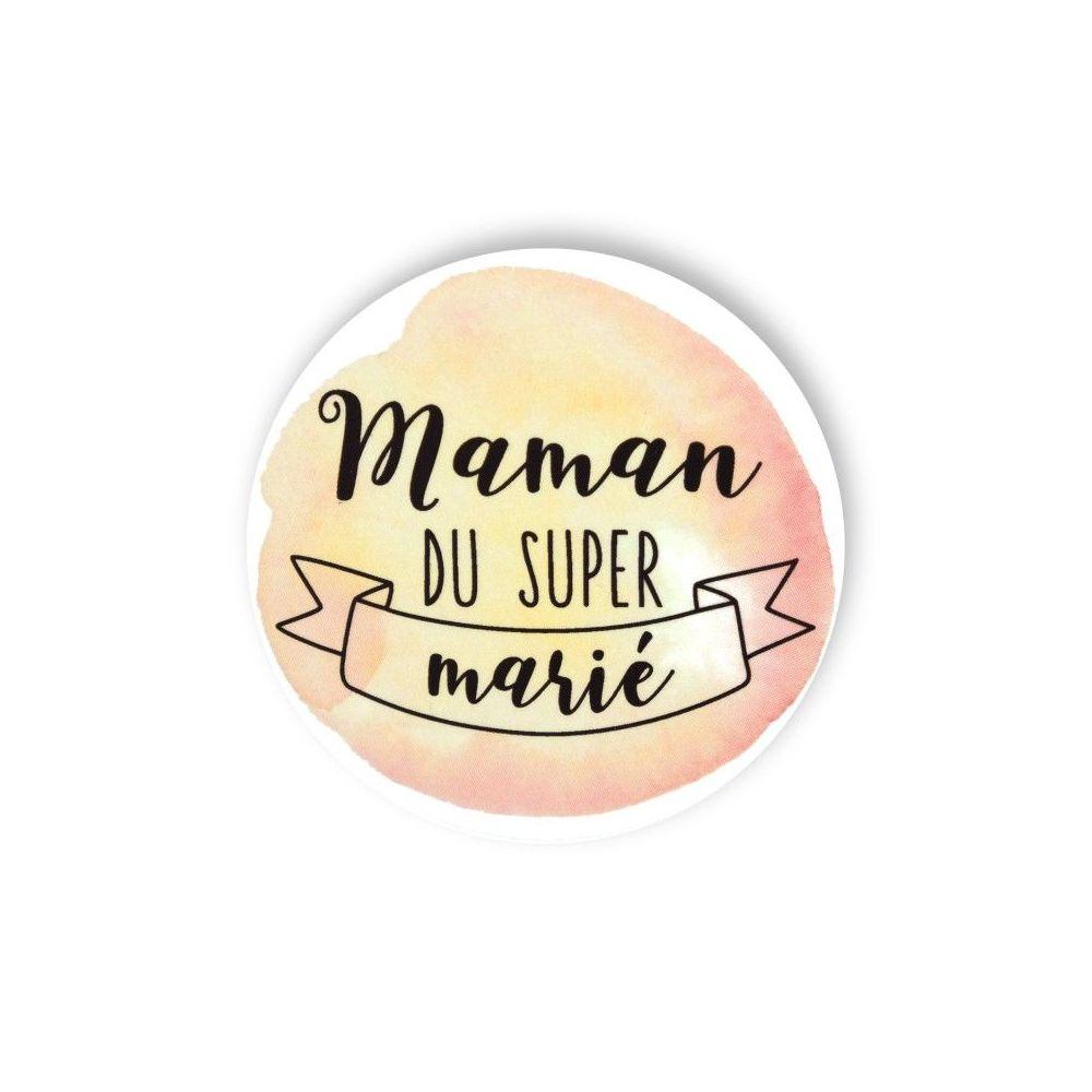 """Badge aquarelle pêche 'Maman de la fantastique mariée"""""""
