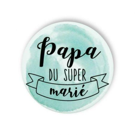 """Badge aquarelle menthe 'Papa du super marié"""""""