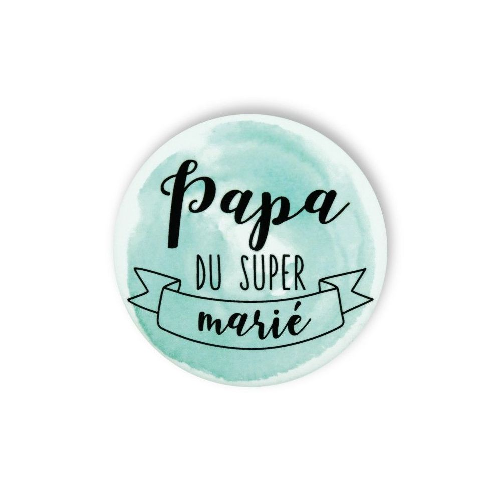 Badge aquarelle menthe 'Papa du super marié""