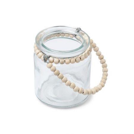 Photophore verre et perles en bois