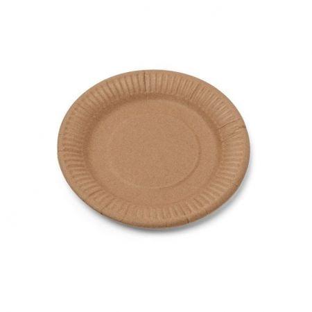 12 assiettes couleur kraft - 18 cm