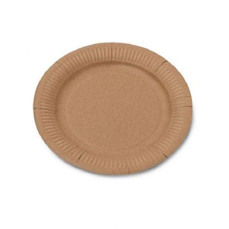 12 assiettes couleur kraft - 23 cm