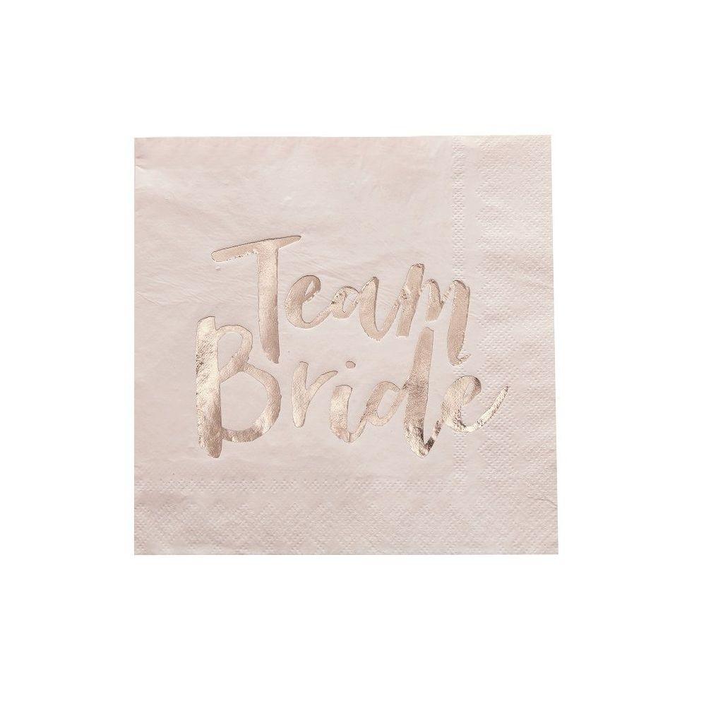 """20 serviettes rose et cuivre """"Team bride"""""""