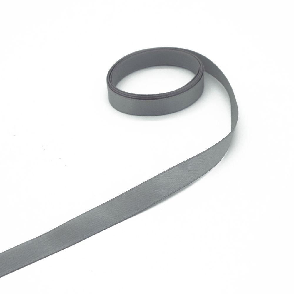 Ruban gris satin au mètre - 9 mm