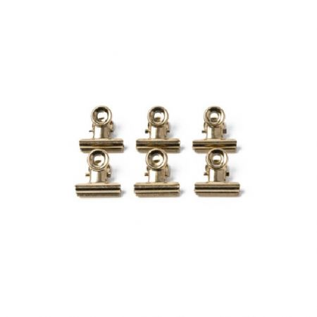 6 pinces clip métal doré