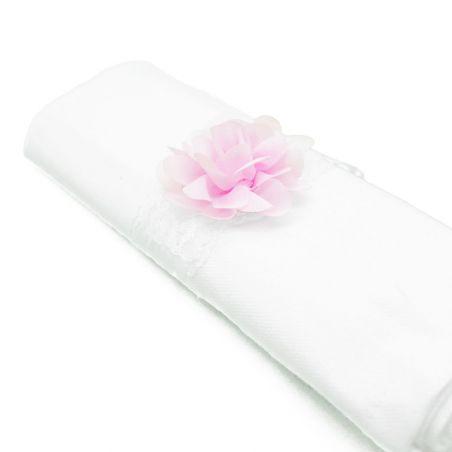 Rond de serviette fleur rose pâle