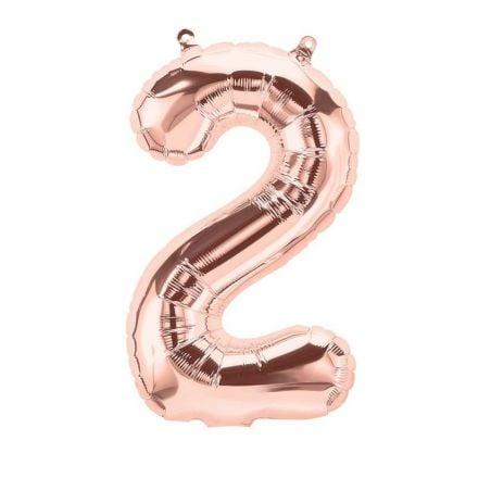 Ballon chiffre rose gold mylar - 40cm
