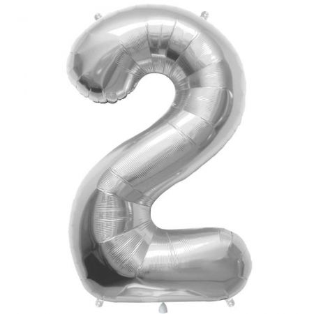 Ballon chiffre argenté mylar - 86cm