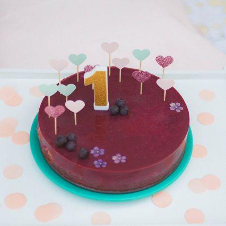 10 cake topper coeur rose pâle