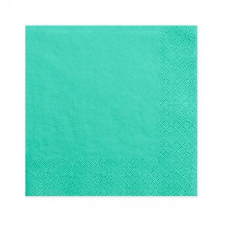 20 serviettes bleu lagon