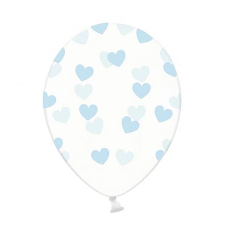 Ballon transparent cœurs bleus - 30 cm
