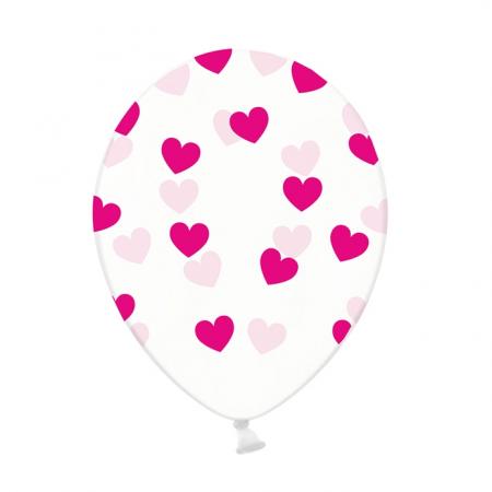 Ballon transparent cœurs fuchsia - 30 cm