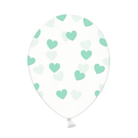 Ballon transparent cœurs menthe - 30 cm