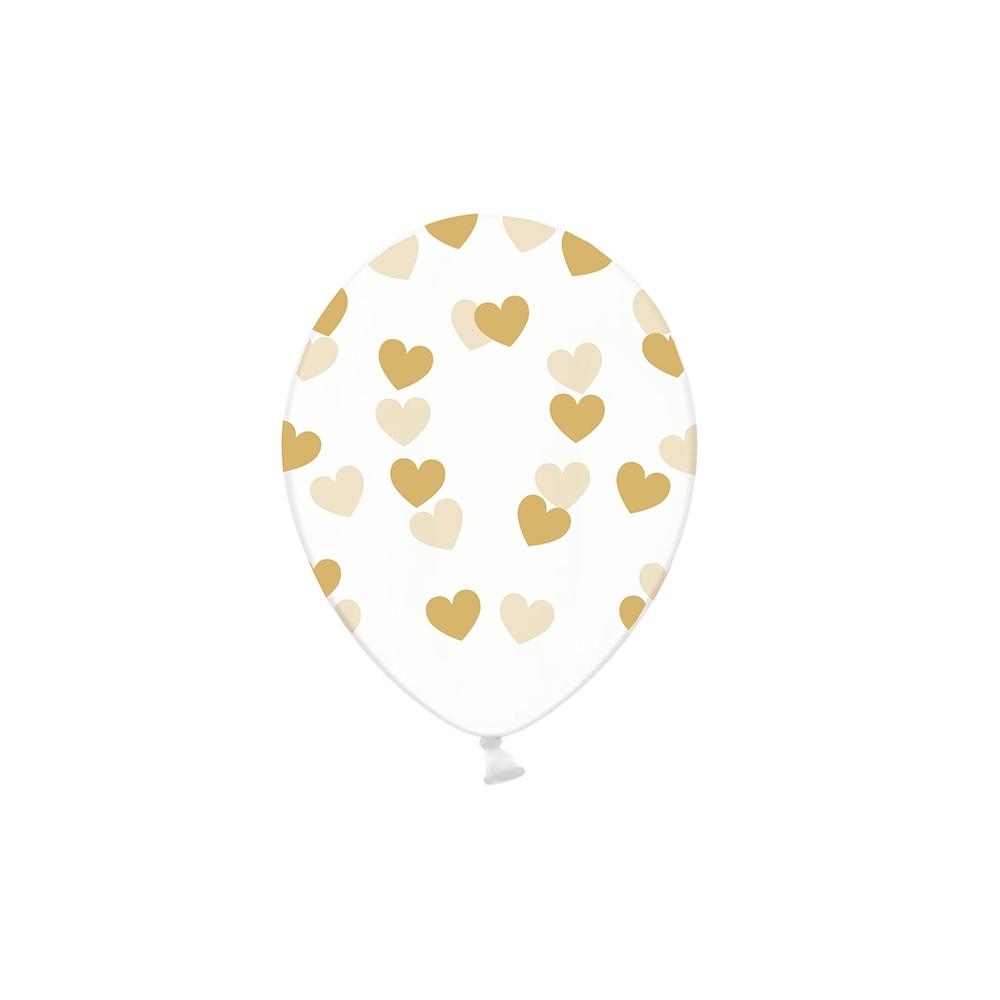 Ballon transparent cœurs dorés - 30 cm