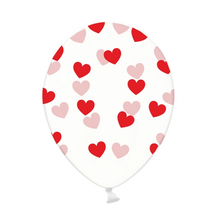 Ballon transparent cœurs rouges - 30 cm