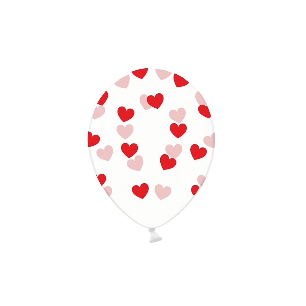 Ballon transparent cœurs rouges - 30 cm